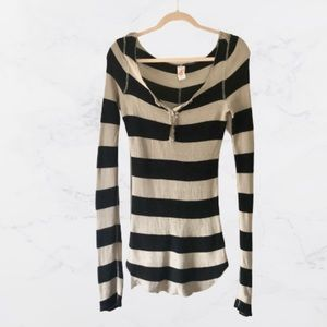 Free People Thick Striped Distressed Thermal Top-M